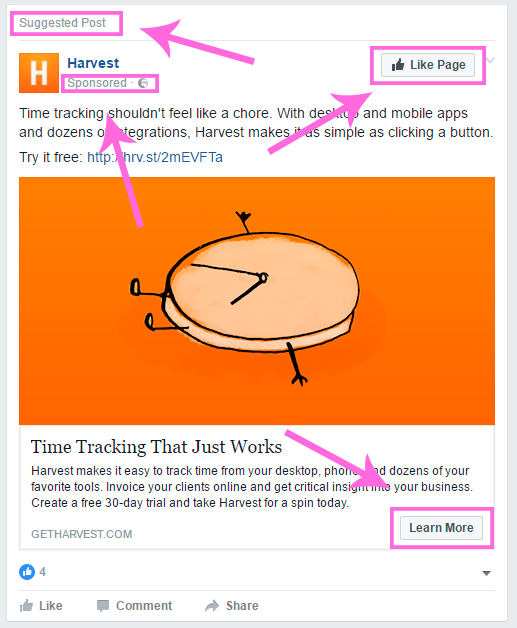 Facebook ad with arrows