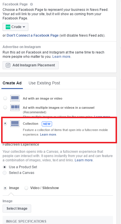 Facebook Ad Collection Setup Power Editor step 3