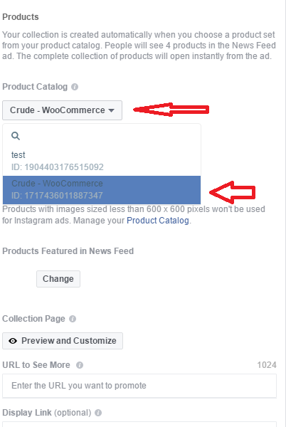 Facebook Ad Collection Setup Power Editor step 5
