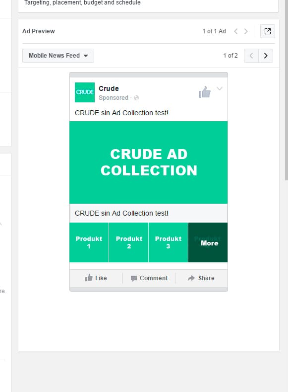 Facebook Ad Collection Setup Power Editor Finished Collection